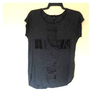 Gray T-shirt with Cross Detail